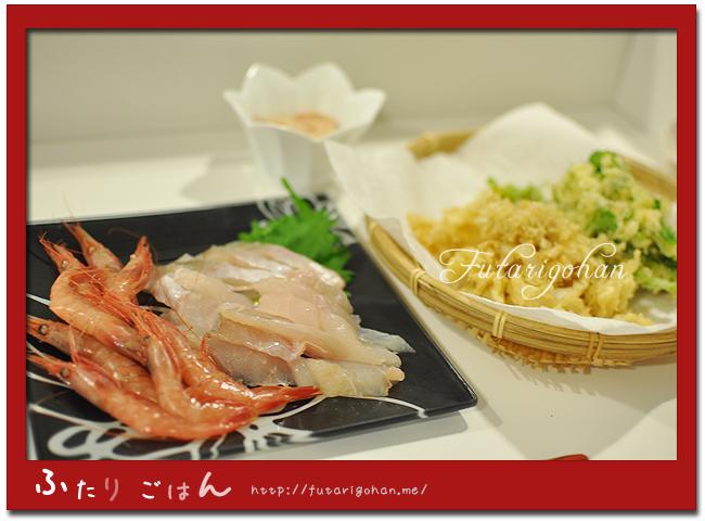 カワハギの刺身&菜の花と花びら茸の天ぷら