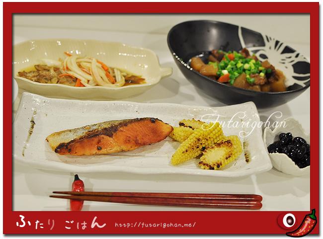 焼き鮭、焼きヤングコーン