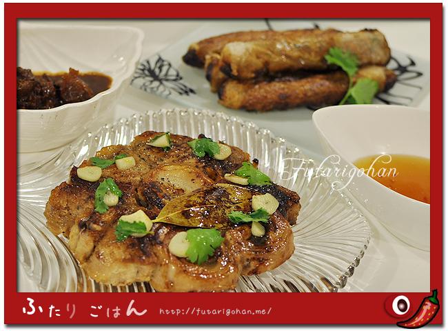 マグロの尾肉ステーキ&鯖缶とパクチーの揚春巻き