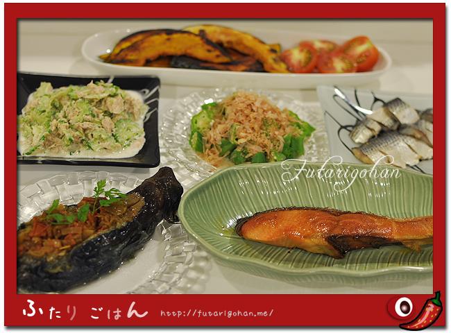 坊さんの気絶&焼鮭&ゴーヤとシーチキンのマヨ和え